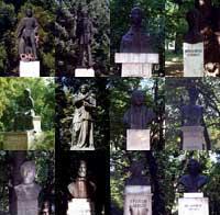 Az Iskolakert szobrai, emléktáblái